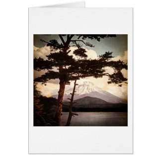 Mt. Fuji Through the Pines Vintage Old Japan Card