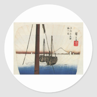 Mt Fuji viewed from a Boat circa 1800s Classic Round Sticker