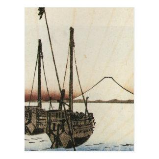 Mt Fuji viewed from a Boat circa 1800s Postcard