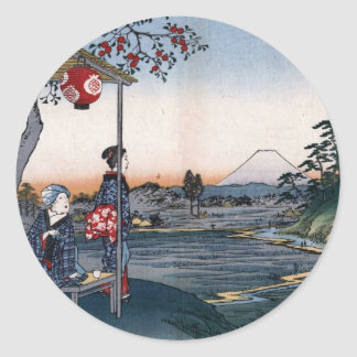 Mt. Fuji Viewed from a Teahouse c. 1800s Japan Classic Round Sticker