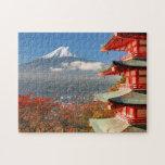 Mt. Fuji viewed from behind Chureito Pagoda Jigsaw Puzzle
