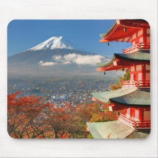 Mt. Fuji viewed from behind Chureito Pagoda Mouse Pad