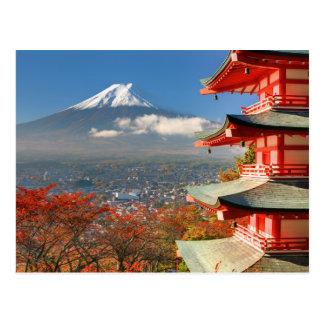 Mt. Fuji viewed from behind Chureito Pagoda Postcard
