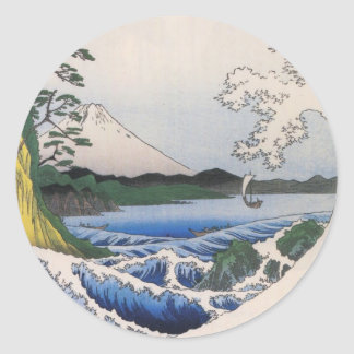Mt. Fuji viewed from water circa 1800's Classic Round Sticker