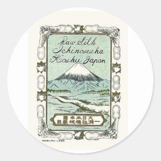 Mt. Fuji Vintage Japanese Silk Label Classic Round Sticker