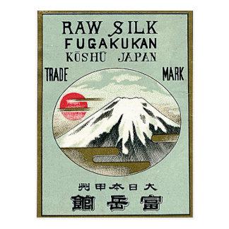 Mt. Fuji Vintage Japanese Silk Label Postcard