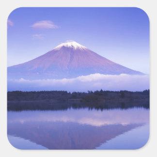 Mt. Fuji with Lenticular Cloud, Motosu Lake, Square Sticker