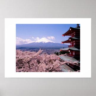 Mt Fuki con Sakura Póster