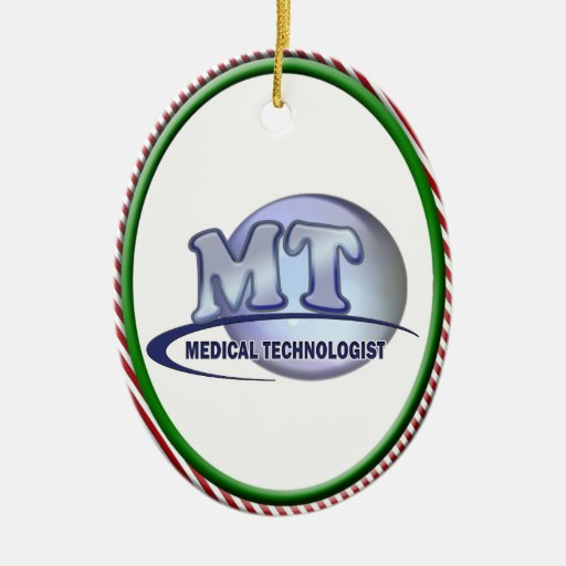 MT FunBlue LOGO - MEDICAL  TECHNOLOGIST LABORATORY Double-Sided Oval Ceramic Christmas Ornament