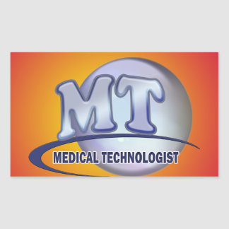 MT FunBlue LOGO - MEDICAL  TECHNOLOGIST LABORATORY Rectangular Sticker