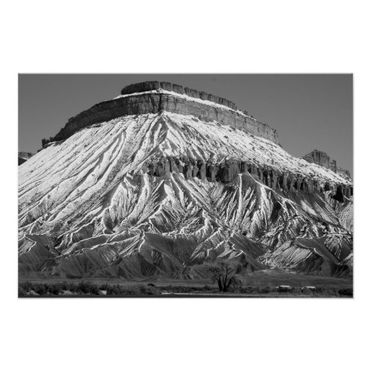 Mt. Garfield in Winter Black and White Photo Poster