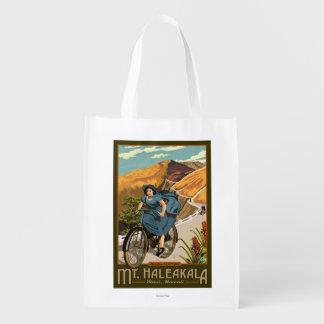 Mt. Haleakala Bicycle Rides Hawaii Reusable Grocery Bag