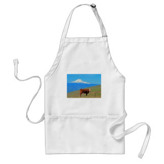 Mt Hood And A Cow Adult Apron