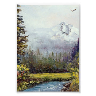 Mt. Hood and Stream Scene from the Pacific NW Photo Print