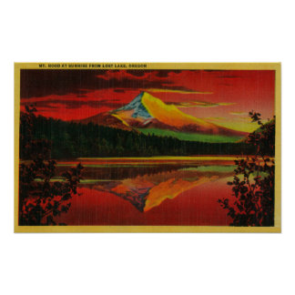 Mt. Hood at Sunrise from Lost Lake, Oregon Poster