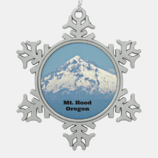 Mt. Hood, Oregon Snowflake Pewter Christmas Ornament