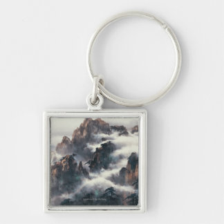 MT. HUANG SHAN Silver-Colored SQUARE KEYCHAIN