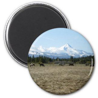 Mt. Jefferson Horses 2 Inch Round Magnet