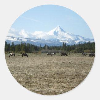 Mt. Jefferson Horses Classic Round Sticker