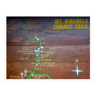 mt kinabalu trail sign postcard