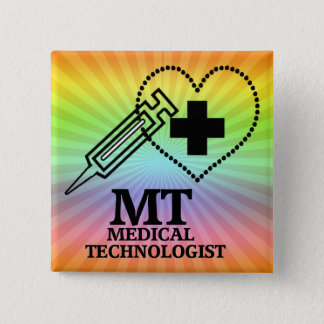 MT LOGO SYRINGE HEART MEDICAL TECH BUTTON