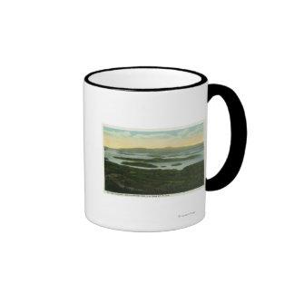 Mt. Major Aerial View of Rattlesnake Island, Ringer Coffee Mug
