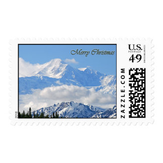 Mt. McKinley - Merry Christmas Postage Stamp