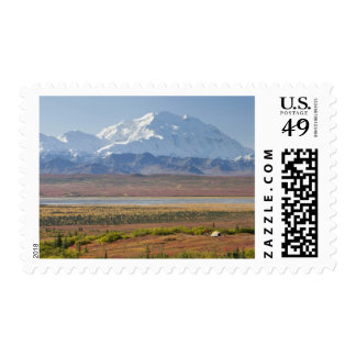 Mt. McKinley towers behind a camper and his tent Postage Stamps