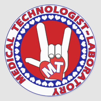 MT MEDICAL  TECHNOLOGIST I LOVE ASL  LABORATORY CLASSIC ROUND STICKER