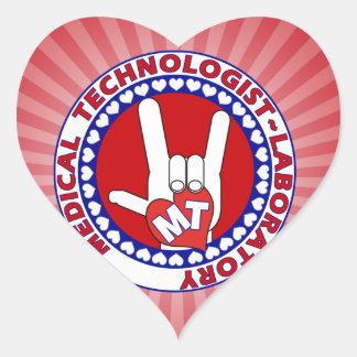 MT MEDICAL  TECHNOLOGIST I LOVE ASL  LABORATORY HEART STICKER