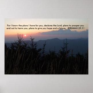 Mt. Mitchell North Carolina - Jeremiah 29:11 Poster