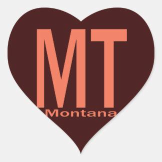 MT Montana plain orange Heart Sticker