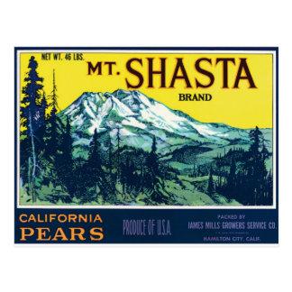 Mt. Mount Shasta California CA Pears Vintage Label Postcard