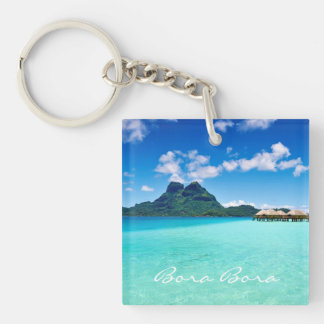 Mt Otemanu View Double-Sided Square Acrylic Keychain