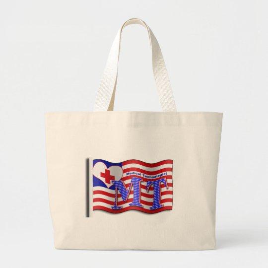 MT PATRIOTIC USA FLAG MEDICAL TECHNOLOGIST LARGE TOTE BAG