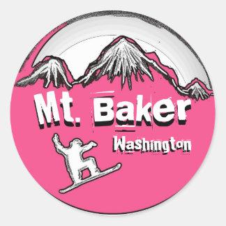 Mt. Pegatina rosado de la snowboard de Washington