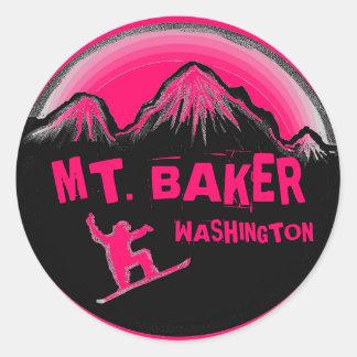 Mt. Pegatinas rosados de la snowboard de Pegatina Redonda