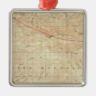 Mt Pinos quadrangle showing San Andreas Rift Metal Ornament