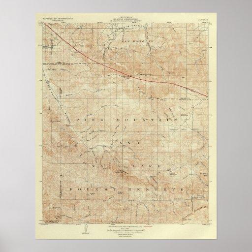 Mt Pinos quadrangle showing San Andreas Rift Poster