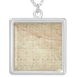 Mt Pinos quadrangle showing San Andreas Rift Square Pendant Necklace
