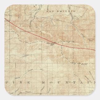 Mt Pinos quadrangle showing San Andreas Rift Square Sticker