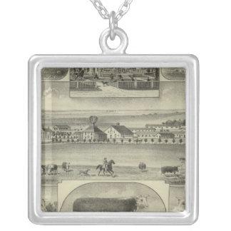 Mt. Pleasant Stock Farm, Colony, Kansas Square Pendant Necklace