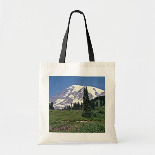Mt. Rainer, Washington Red flowers Bags