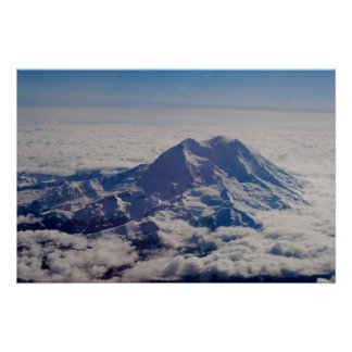 Mt. Rainier at 25,000 feet Poster