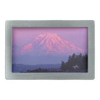 Mt. Rainier at Sunset, Washington State. Belt Buckle