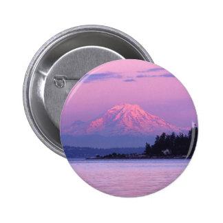 Mt. Rainier at Sunset, Washington State. Pinback Button