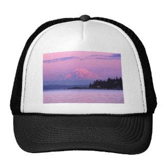 Mt Rainier at Sunset Washington State Mesh Hats