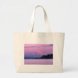 Mt. Rainier at Sunset, Washington State. Large Tote Bag