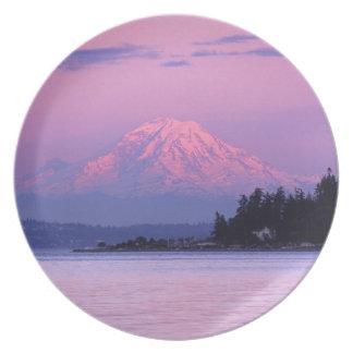 Mt. Rainier at Sunset, Washington State. Melamine Plate