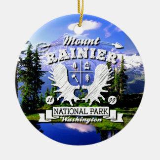 Mt. Rainier Camper Logo Double-Sided Ceramic Round Christmas Ornament